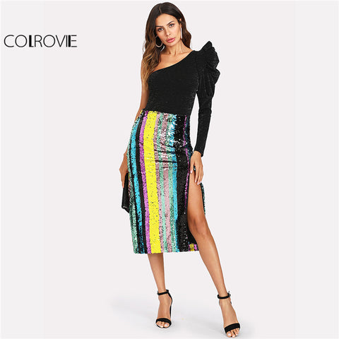 Patchwork Side Slit Striped Sequin Mid Waist Skirt Women Full Length Sheath Skirt