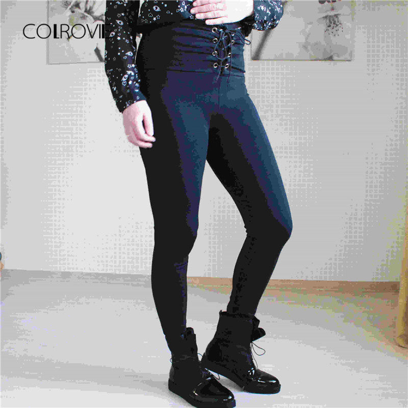 Spring High Waist Skinny Leggings Black Empire Eyelet Lace Up Leggings Women Sporting Pants