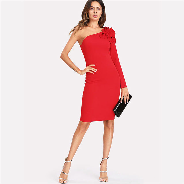 2d4d1ab6e1c ... Asymmetrical Tiered Ruffle Shoulder Fitted Dress Red One Shoulder Long Sleeve  Short Ruffle Dress ...