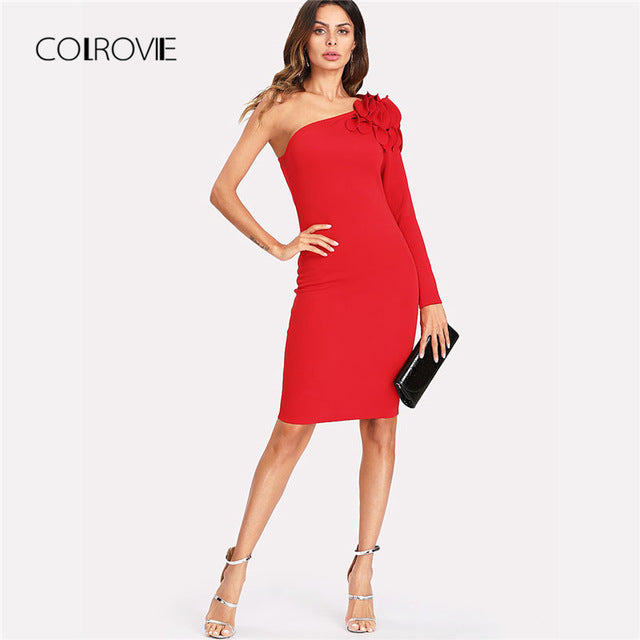 Asymmetrical Tiered Ruffle Shoulder Fitted Dress Red One Shoulder Long Sleeve Short Ruffle Dress
