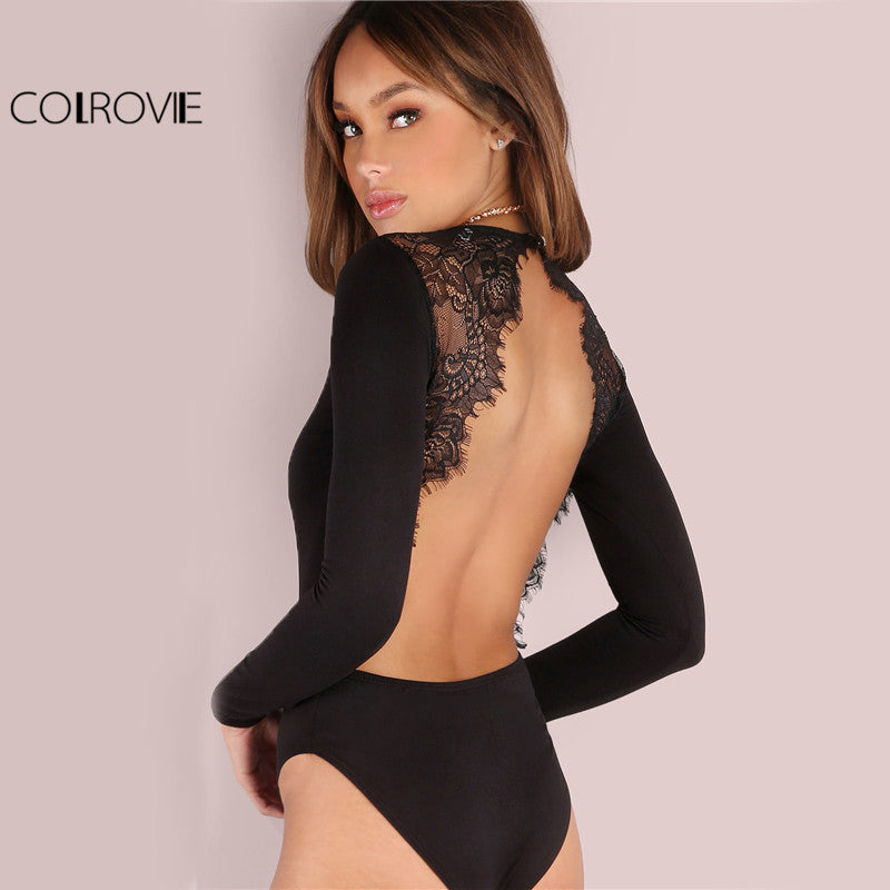 Backless Lace Patchwork Bodysuit Black Slim Women Club Summer Long Sleeve Skinny Hot Party Jumpsuit