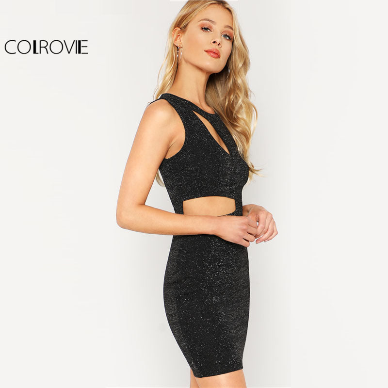 Black Cut Out Glitter Dress Women Round Neck Sleeveless High Waist Party Spring Short Bodycon Dress