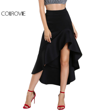 Black Ruffle Hi-Lo Long Skirt High Waist Women Slim A Line Maxi Draped Party Club Skirts