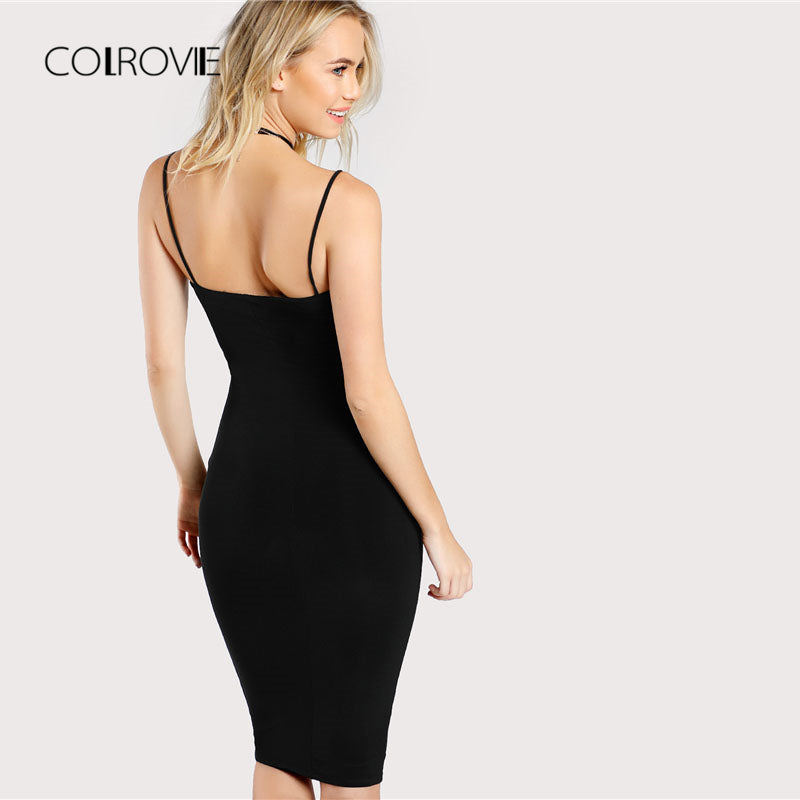5a4a30cf8b5 ... Black Solid Bodycon Dress Spaghetti Strap Sleeveless Bodycon Knee Length  Women Plain Dress ...