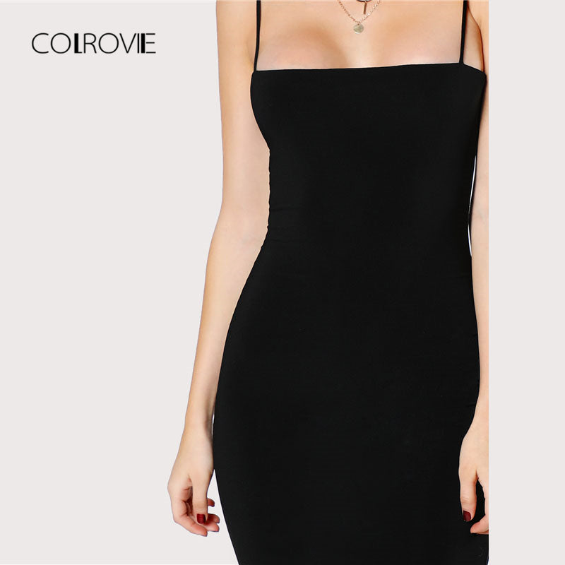Black Solid Bodycon Dress Spaghetti Strap Sleeveless Bodycon Knee Length Women Plain Dress