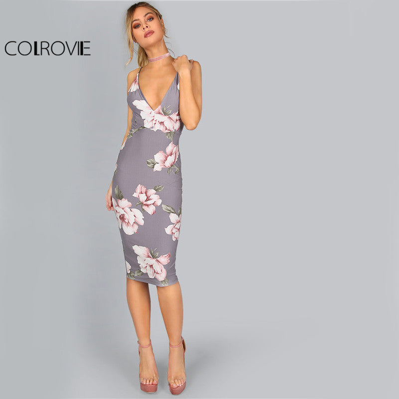 Bodycon Party Grey Floral Sexy Backless Slip Summer Dresses Plunge Neck Elegant Midi Dress