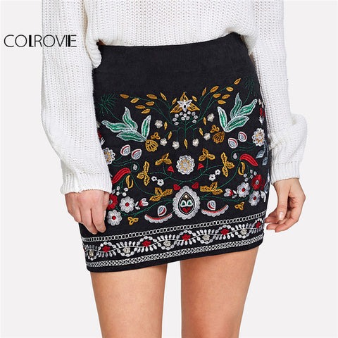 Solid Contrast Faux Fur Hem Winter Skirt Black Mid Waist Above Knee Skirt With Zip Party Short Skirt