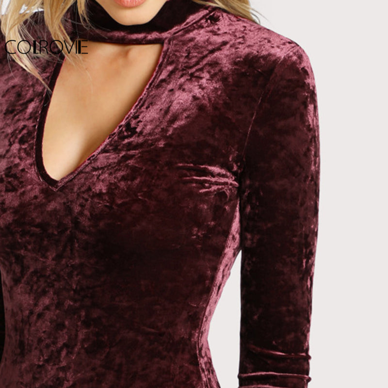 Choker Neck Skinny Crushed Velvet Women Long Sleeve Burgundy Basic Autumn Bodysuits