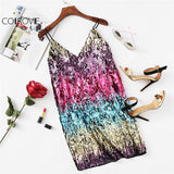 Colorful Sequin Party Club Dress Women A Line Mini Summer Dresses Sleeveless V Neck Hot Dress