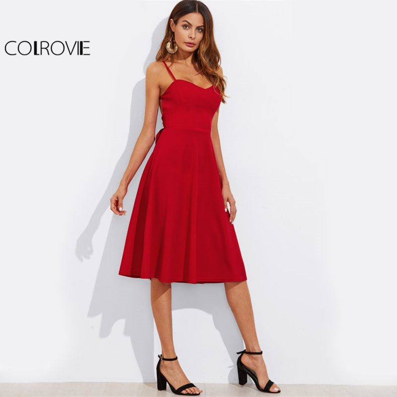 fadf913e86194 Crisscross Belted Back Cut Out Fitted Flared Dress Red Spaghetti Strap  Sleeveless A Line Party Dress