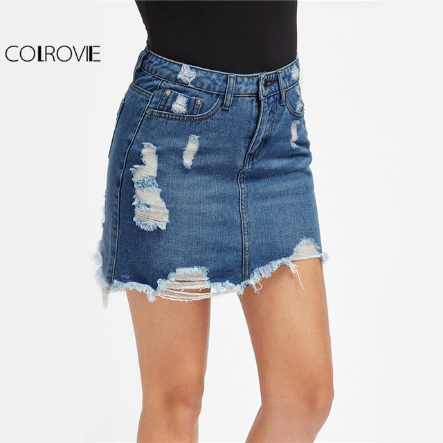 1668a7762f88a ... Distressed Pencil Skirt Blue Denim Casual Mini Summer Skirts New Ripped  Pockets Bodycon Skirt ...