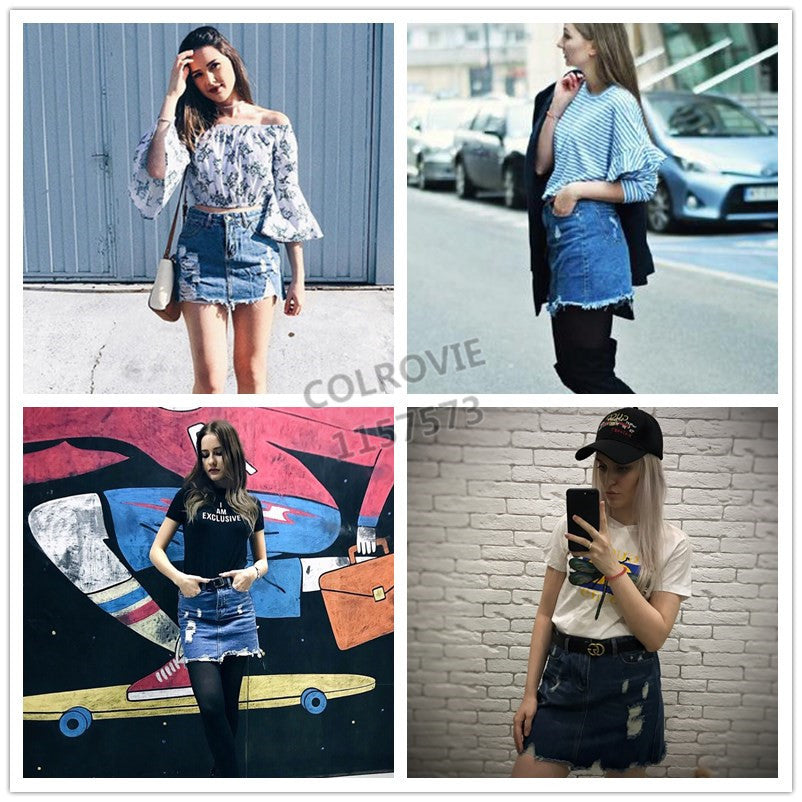 Distressed Pencil Skirt Blue Denim Casual Mini Summer Skirts New Ripped Pockets Bodycon Skirt