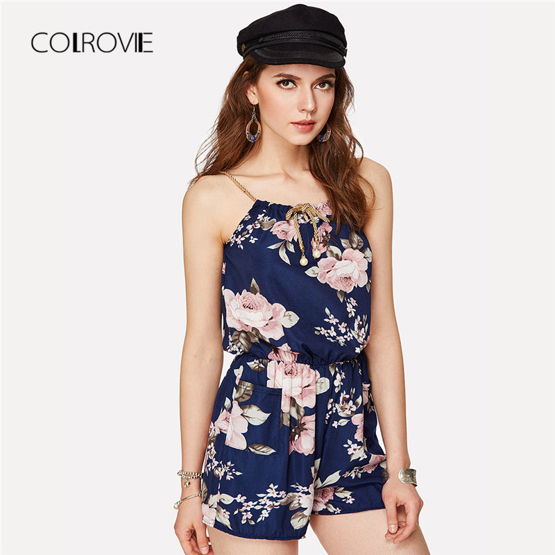Floral Print Self Tie Romper Spaghetti Strap Women Rompers Summer Beach Loose Playsuits