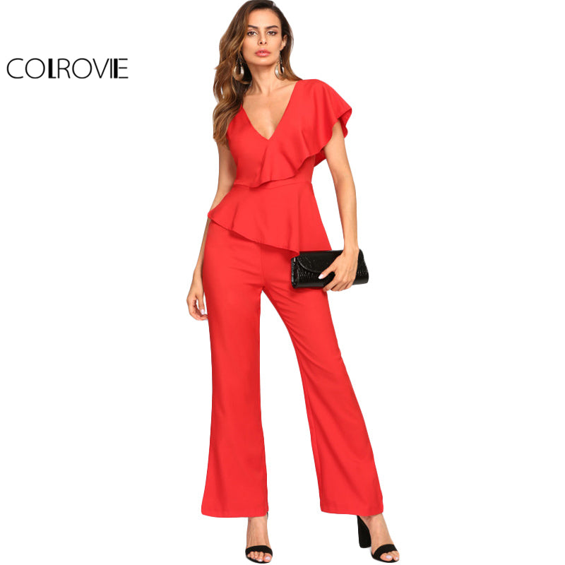 6d5e1301ba1b ... Flounce One Shoulder Plunging Tailored Women Red V neck Ruffle  Sleeveless High Waist Party Jumpsuit ...