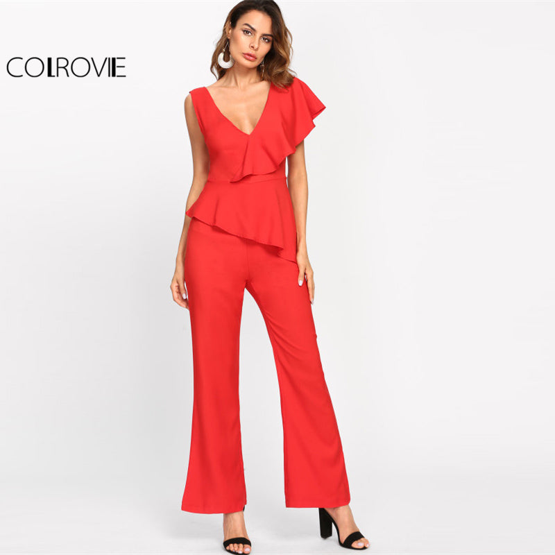 Flounce One Shoulder Plunging Tailored Women Red V neck Ruffle Sleeveless High Waist Party Jumpsuit