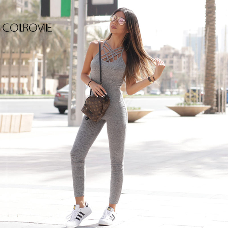 Grey Ribbed Jumpsuit Cage Neck Skinny Women Casual Knit Fall Cross Strappy Basic Jumpsuit