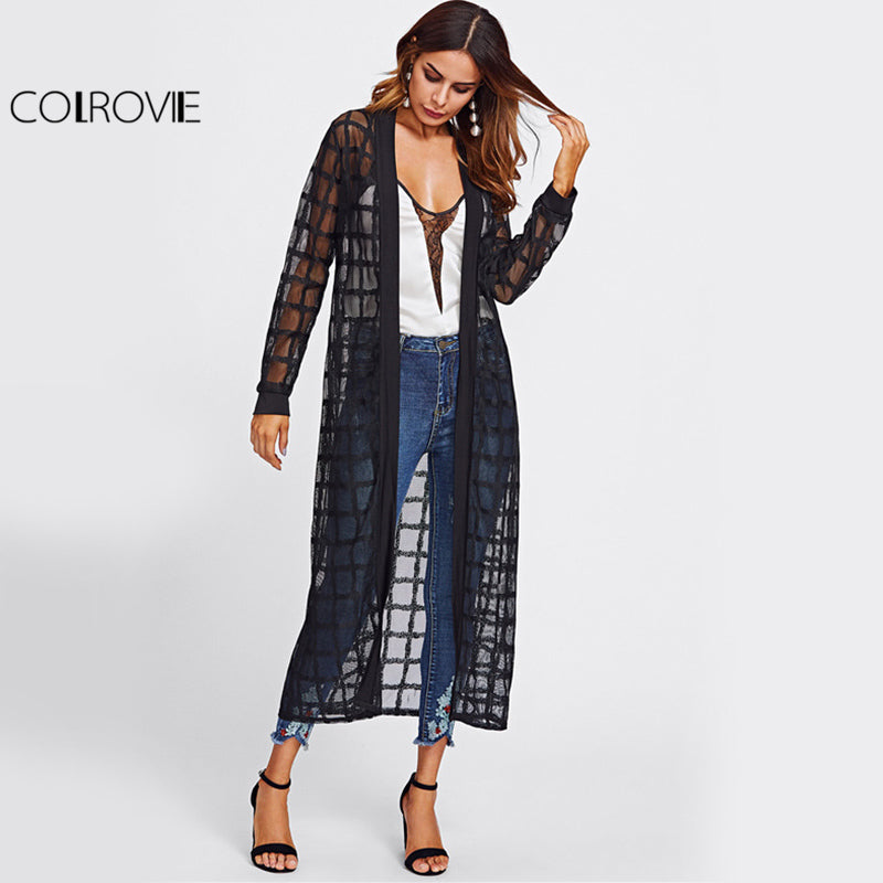Plaid Mesh Long Line Women Black Semi Sheer Casual Spring Blouse Fall Long Sleeve Thin Kimono
