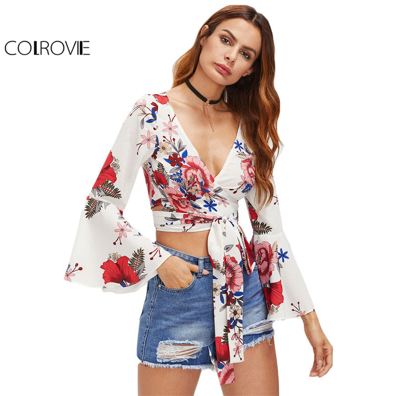 Random Floral Crop Top Wrap Tie Waist Blouse Women Fluted Sleeve Summer Tops White V Neck Blouse