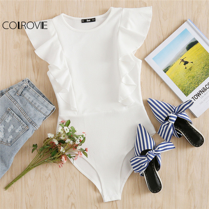 Ruffle Cute Textured Bodysuit Women White Cap Sleeve Slim Summer Brief Skinny Jumpsuit