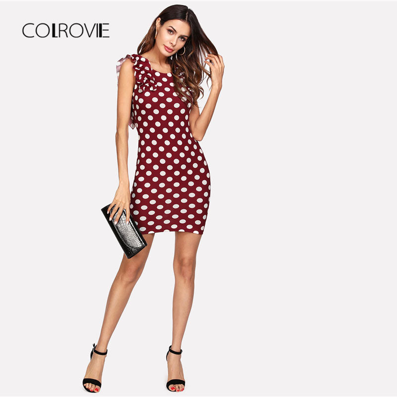 Ruffle Shoulder Polka Dot Dress Scoop Neck Sleeveless Sheath Dress Summer Short Dress