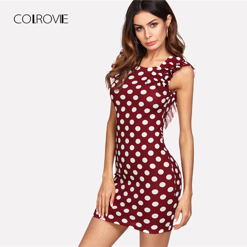2de2b7044b ... Ruffle Shoulder Polka Dot Dress Scoop Neck Sleeveless Sheath Dress  Summer Short Dress ...