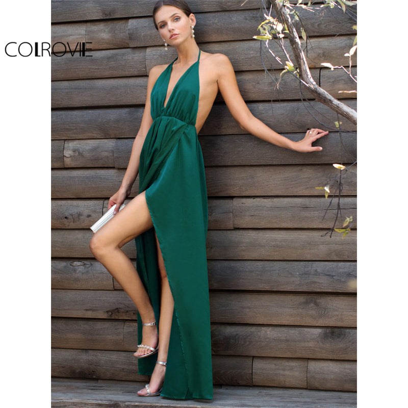 61a9dbb59bc ... High Slit Satin Maxi Party Dress Women Plunge Neck Cross Back Summer  Green Sleeveless Wrap Dress ...