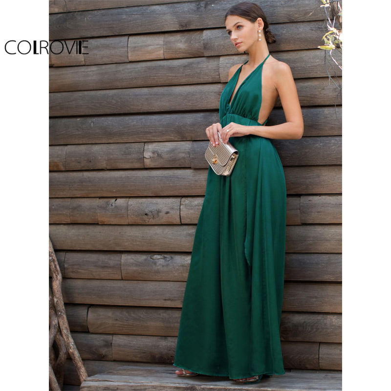 b44ca30207b High Slit Satin Maxi Party Dress Women Plunge Neck Cross Back Summer Green  Sleeveless Wrap Dress ...