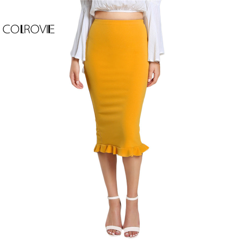 Split Ruffle Pencil Skirt Yellow Slim Work Summer Skirts New Brief High Waist Skirt