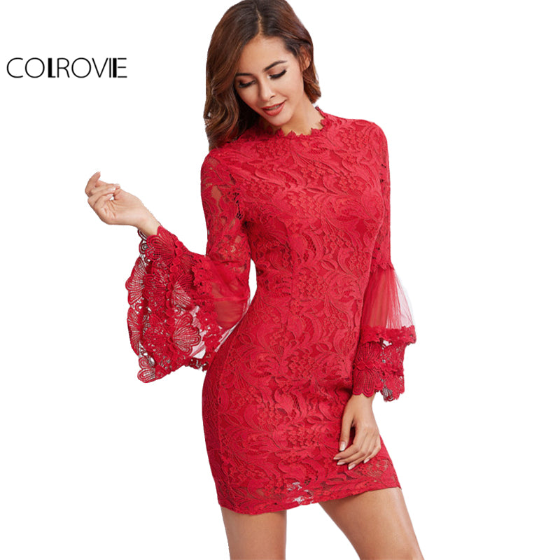 Tiered Flare Sleeve Lace Dress Women Red Vintage Fitted Mini Party Club Ruffle Sheer Slim Dress