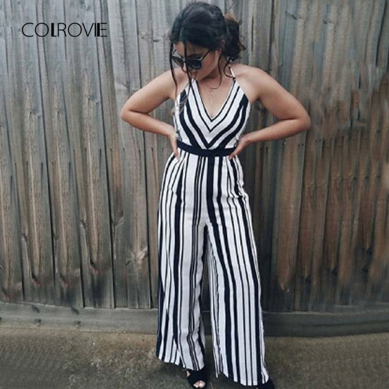 V Neck Backless Striped Women Straps Sleeveless Crisscross Tie Detail Jumpsuit Beach Boho Jumpsuit