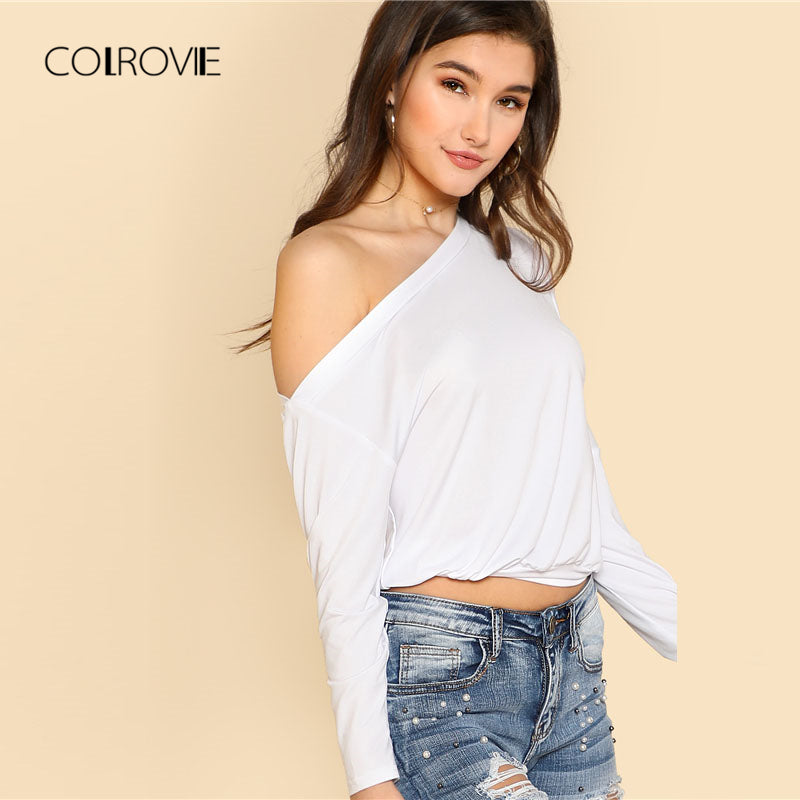 Wide Hem Asymmetric Shoulder Tee Spring Asymmetrical Neck Long Sleeve Women Top White Plain T-Shirt