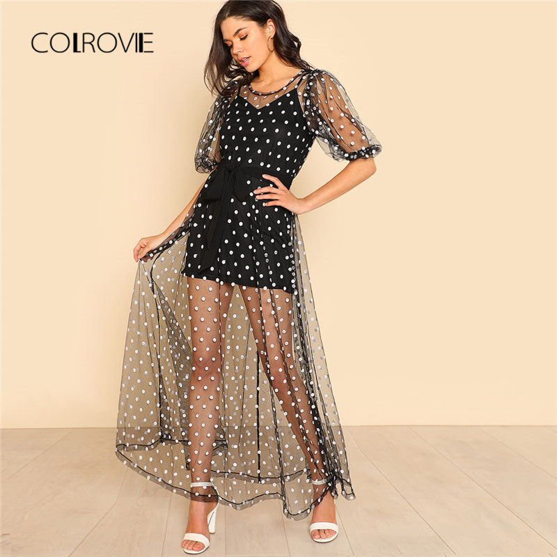 Women Polka Dot Tie Waist Sheer Dress Round Neck Half Sleeve Fit Flare Zipper Sheer Dress