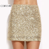 Short Skirt Korean Sexy Clubwear Solid Gold Embroidered Sequin A Line Mini Skirt