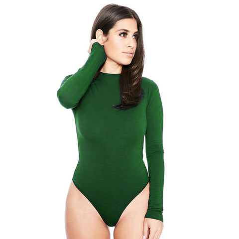 Autumn Winter Slim Basic Bodysuit Women Rompers Tight Long Sleeve Bodysuit O Neck Short Jumpsuit