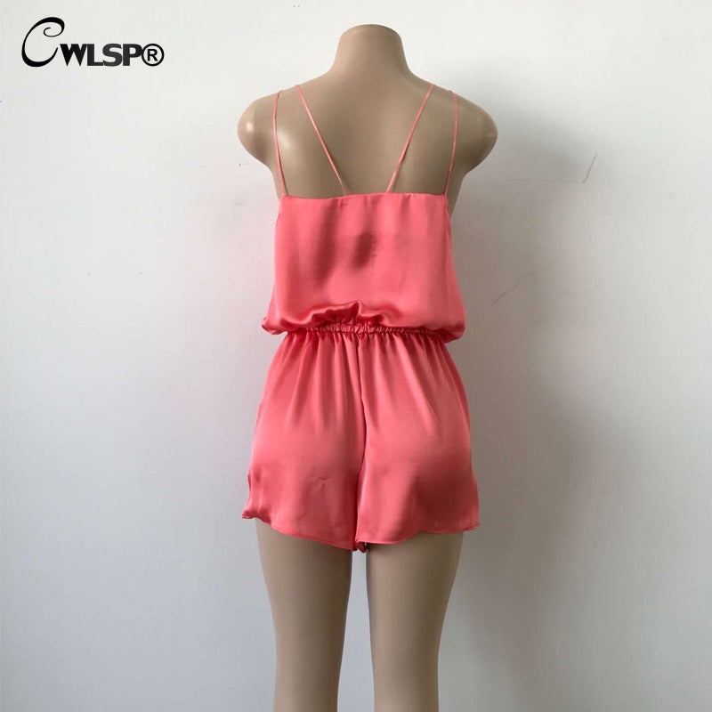 Satin Playsuit Cross Spaghetti Strap V Neck Backless Short Summer Beach Rompers Jumpsuit