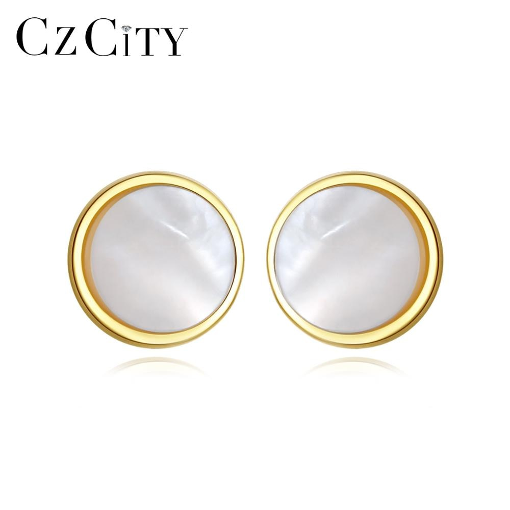 Exquisite Small Round Stud Earrings Women Transparent White Natural Shell 925 Silver Fine Jewelry
