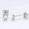 Fire Opal Earrings Silver 925 Elegant Small Sterling Silver Blue Opal Stud Earring Women