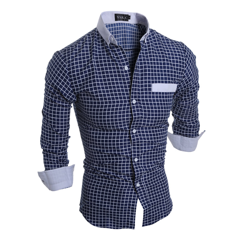 Men Shirt Casual Long-Sleeved Chemise High Quality Slim Plaid Dress Shirt