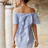 Summer Blouses Women Slash Neck Off Shoulder Short Sleeve Casual Tops Shirt Striped Ruffle Bow