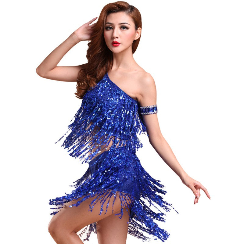 Lady Dance Dress Sequins Dancing Women Costume Tango Latin Salsa Party Top Dresses