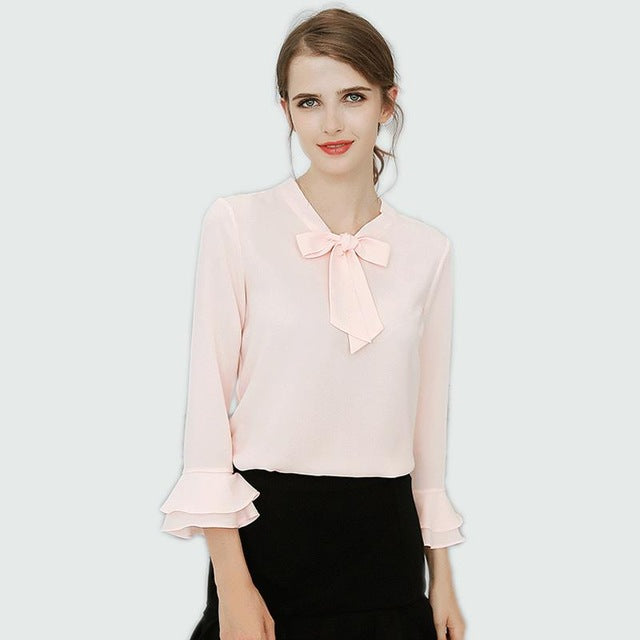 Chiffon Blouse Women Shirts Spring Plus Size Long Sleeve Shirt Bow Tops Blouse Chemise