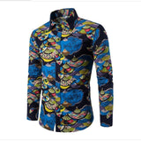 Men Shirts Casual Flora Long Sleeve Business Formal Shirt High Quality Slim Fit