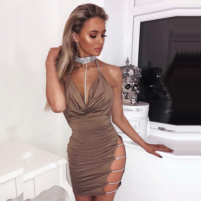 Women Halter Crystal Sequin Dress Backless Metallic Diamond Bandage Club Bodycon Party Red Dresses