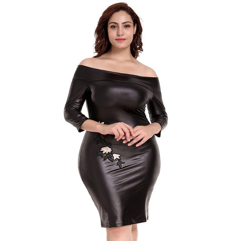 Off-Shoulder Dress Faux Leather Bodycon Pencil Party Midi Clubwear Dresses Stretch Plus Size
