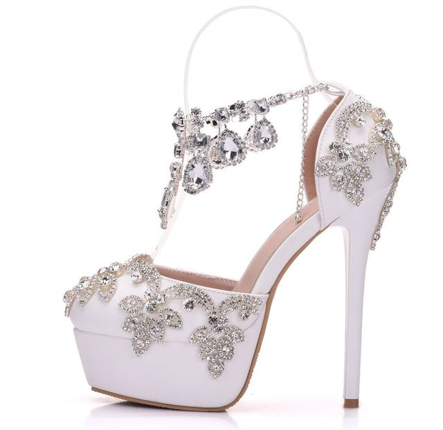 ... Rhinestone Sandals Pumps Shoes Women Sweet Luxury Platform Wedges Shoes  Wedding High Heels ... fccce150bdf6