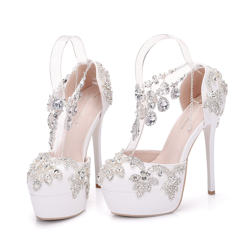... Rhinestone Sandals Pumps Shoes Women Sweet Luxury Platform Wedges Shoes  Wedding High Heels ... 4a1951bd7362