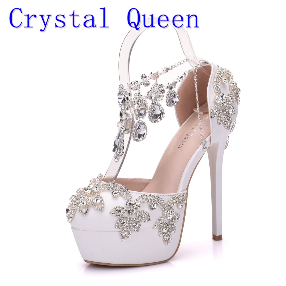 ... Rhinestone Sandals Pumps Shoes Women Sweet Luxury Platform Wedges Shoes  Wedding High Heels ... da851df67042