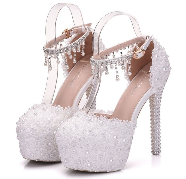 43a1047b4aa ... White Lace Flower Bridal Shoes High Heel Round Toe Wedding Pumps Ankle  Straps Sandals Bridesmaid Shoes ...