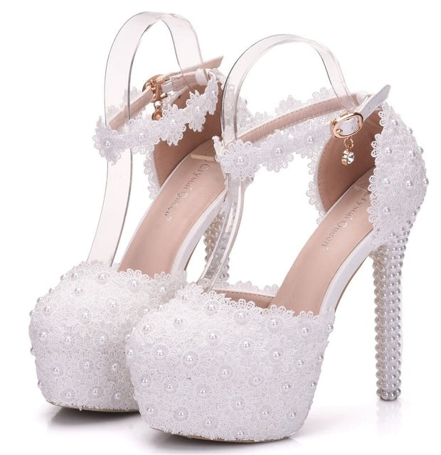White Lace Flower Bridal Shoes High Heel Round Toe Wedding Pumps Ankle Straps Sandals Bridesmaid Shoes
