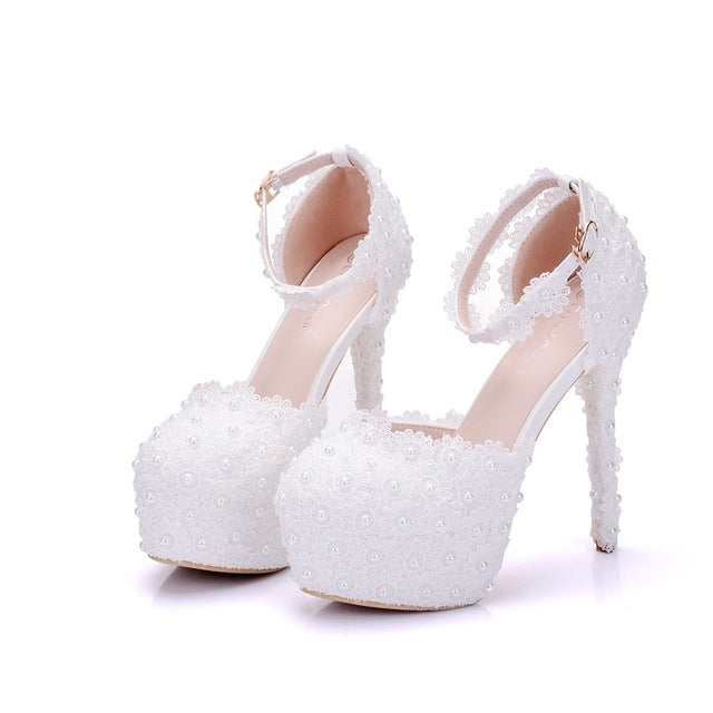 ... White Lace Flower Bridal Shoes High Heel Round Toe Wedding Pumps Ankle  Straps Sandals Bridesmaid Shoes ... b95ca1f283ba